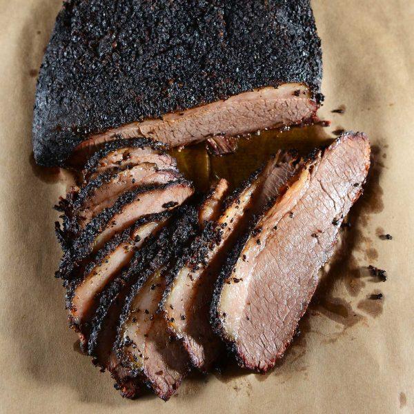 smoked brisket, sliced
